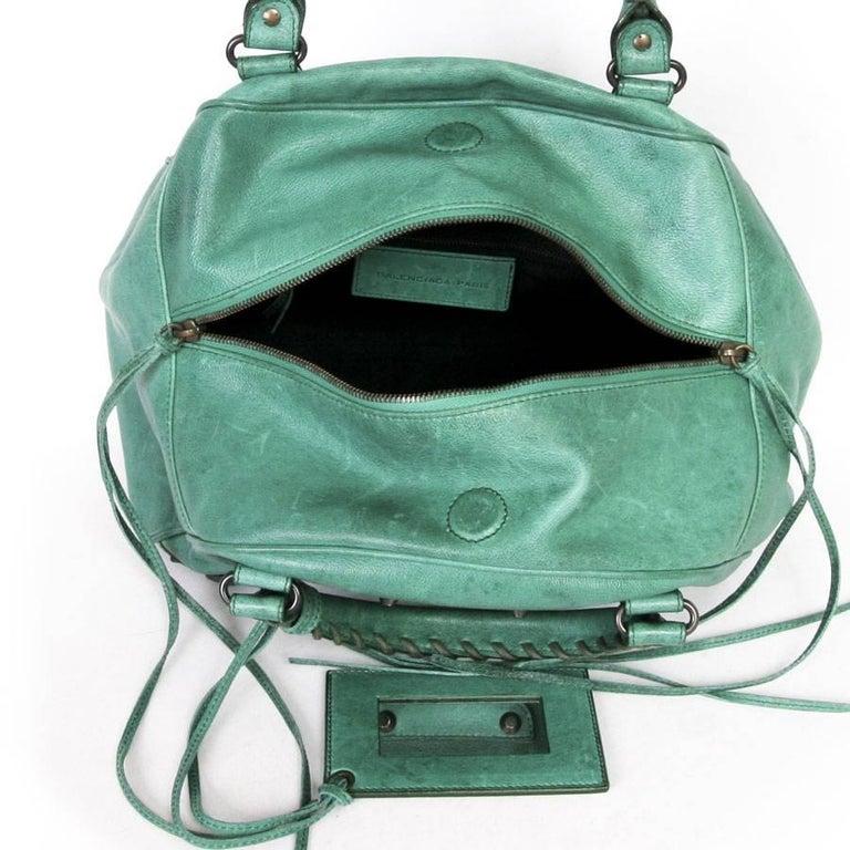 BALENCIAGA  Green Leather Bag  For Sale 2
