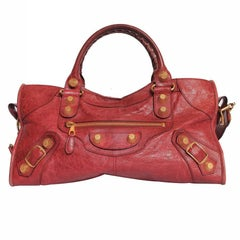"Balenciaga ""City"" Bag in Red Aged Leather"