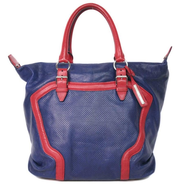 Alexander McQueen Bag in Red and Blue Electric Perforated and Grained Leather