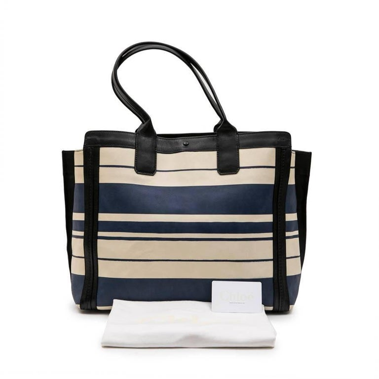 Chloe Bag in White and Blue Striped Leather with Black Borders For Sale 7