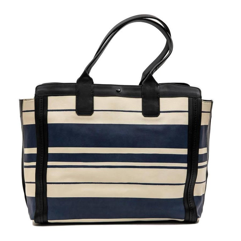 Women's Chloe Bag in White and Blue Striped Leather with Black Borders For Sale