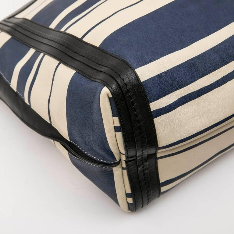 Chloe Bag in White and Blue Striped Leather with Black Borders For Sale 2