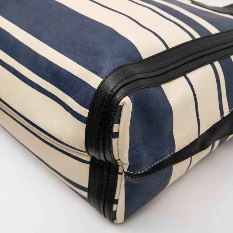 Chloe Bag in White and Blue Striped Leather with Black Borders For Sale 3