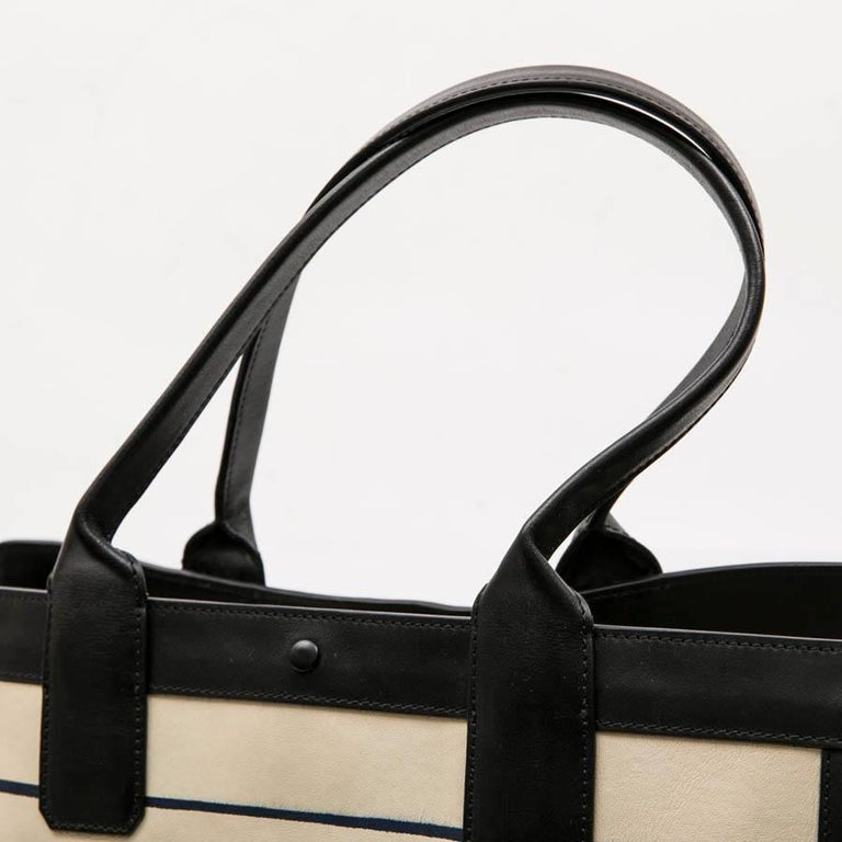 Chloe Bag in White and Blue Striped Leather with Black Borders For Sale 4