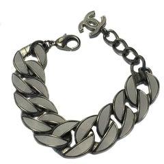 Chanel Pearl Gray Silver Mesh Metal Chain Bracelet
