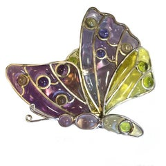 Louis Vuitton Butterfly Brooch in Multicolored Molten Glass and Silver Metal