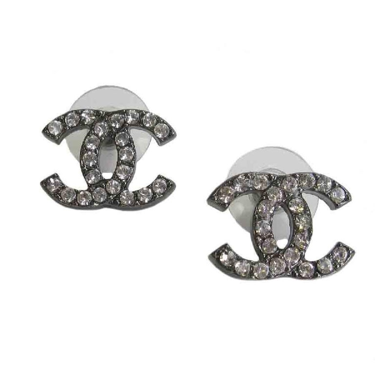 Chanel Cc Stud Earrings In Ruthenium And Rhinestones For