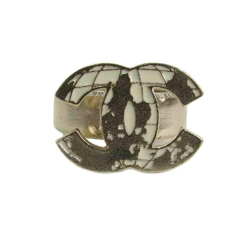 Chanel cc world map ring in gilt metal for sale at 1stdibs chanel cc world map ring in gilt metal in as new condition for sale in paris gumiabroncs Gallery
