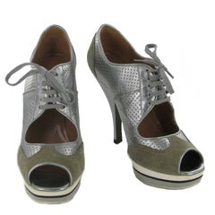 ALAÏA High Heels in Silver Perforated Leather and Gray Suede Size 36.5