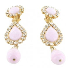 MARGUERITE DE VALOIS Couture Clip-on Earrings in Pale Pink Molten Glass