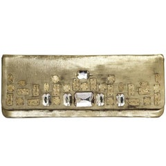 CHRISTIAN LACROIX Haute Couture Evening Clutch in Gold Leather