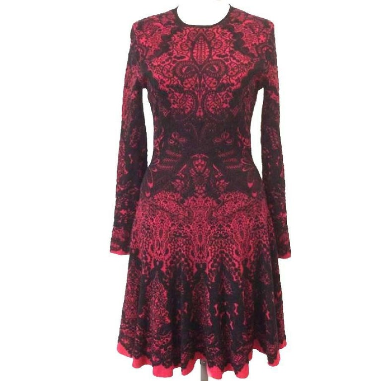 03d09bb14620 Alexander McQueen Red and Black Jacquard and Black Lace Dress For Sale