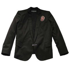 BALMAIN Blazer in Black Wool with Fine Red Stripes Size 40FR