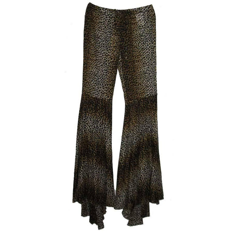 DOLCE & GABBANA High Waisted Pants in Leopard Print Cotton Size 40 IT