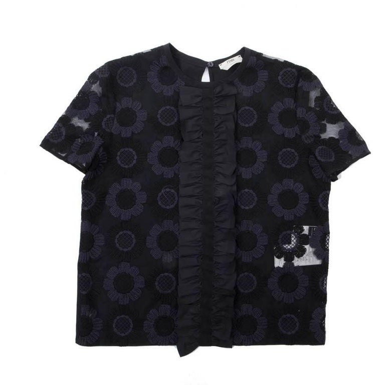 FENDI Blouse in Black Tulle Embroidered with Black and Purple Flowers Size 38EU