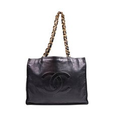 Chanel Vintage Tote Bag in Navy Blue Smooth Lambskin Leather