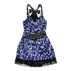 LOUIS VUITTON Pleated Dress in White and Blue Printed Silk Size 38 FR