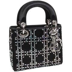 CHRISTIAN DIOR Mini Lady D Evening Bag in Black Silk Satin set with Swarovski