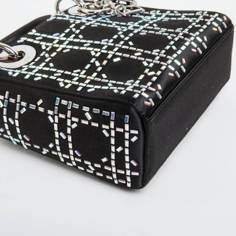 CHRISTIAN DIOR Mini Lady D Evening Bag in Black Silk Satin set with  Swarovski For Sale 55ae458718889