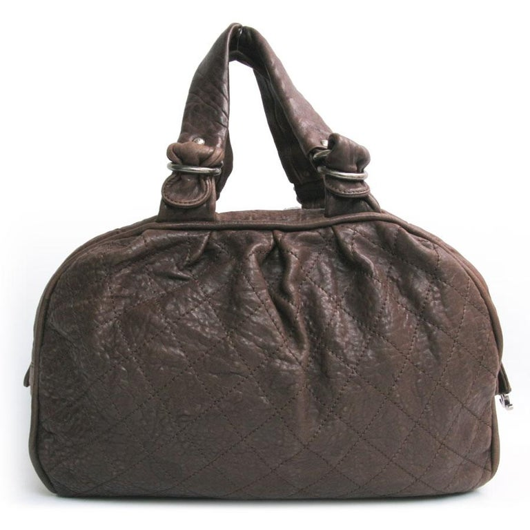 Black CHANEL Large Bag in Brown Bull Leather For Sale