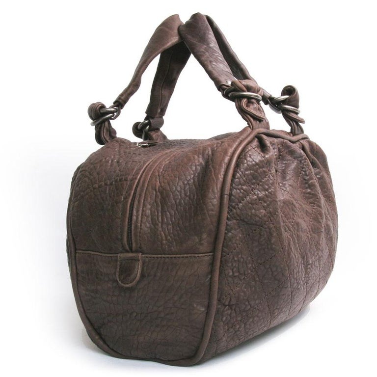 CHANEL Large Bag in Brown Bull Leather In Good Condition For Sale In Paris, FR