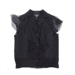 CHANEL Black Blouse with Short Sleeves in Silk Size 40EU