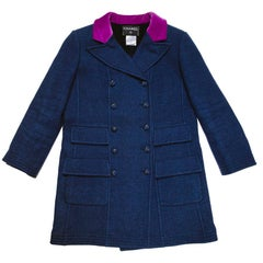 Chanel Blue Cashmere / Wool / Cotton Caban with Purple Velvet Collar