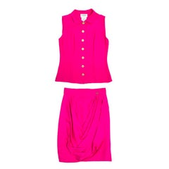 Chanel Fuchsia Silk Blouse and Skirt Set
