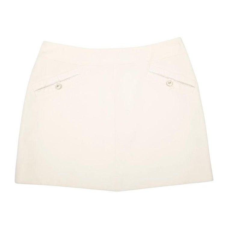 CHANEL Short Skirt in Cream Wool Size 38FR