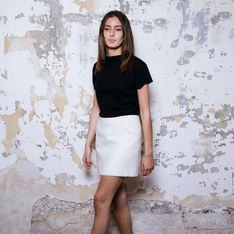 White CHANEL Short Skirt in Cream Wool Size 38FR For Sale