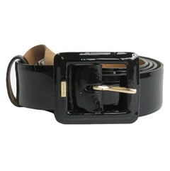 CHANEL Belt in Black Patent Leather with Beige Leather Interior Size 85