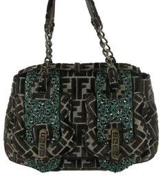 FENDI Vintage Bag in Brown Monogram Velvet and Green Embroideries
