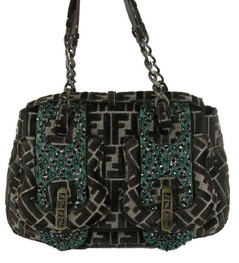 85d3be7a739a FENDI Vintage Bag in Brown Monogram Velvet and Green Embroideries For Sale