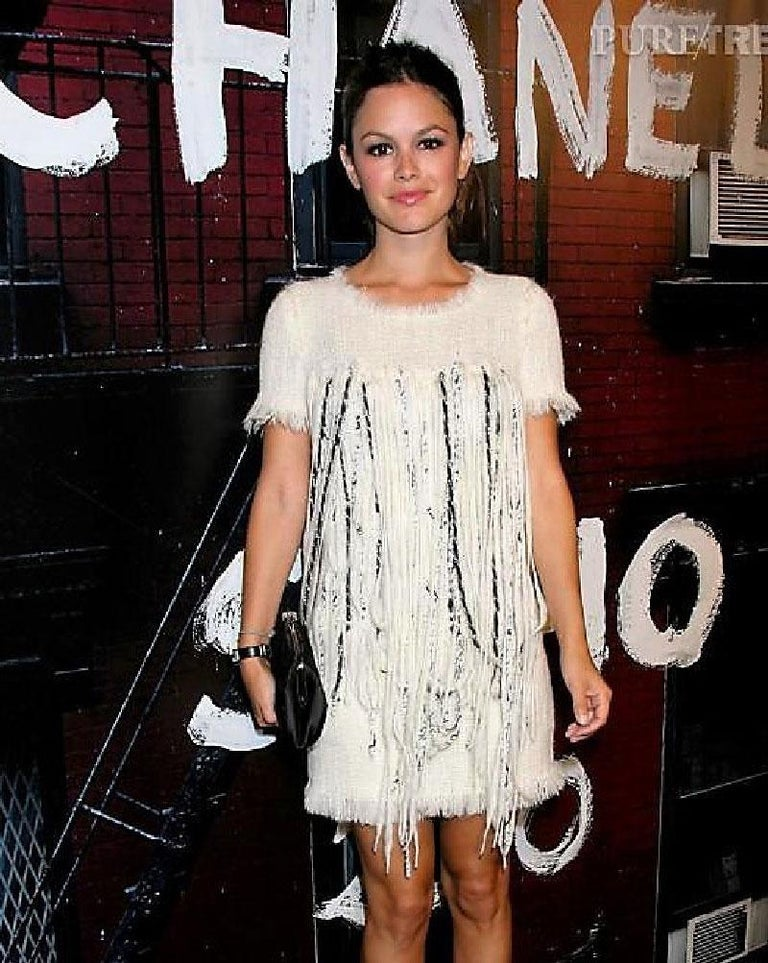 Chanel Cream Tweed Dress Embroidered with Pearls  For Sale 1