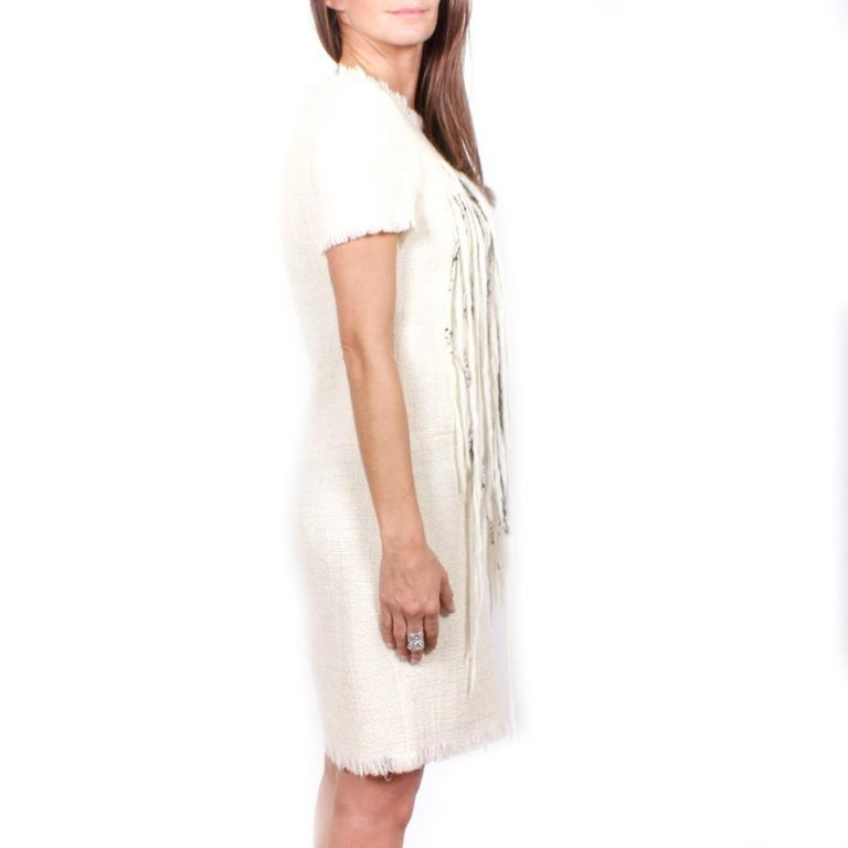 Beige Chanel Cream Tweed Dress Embroidered with Pearls  For Sale