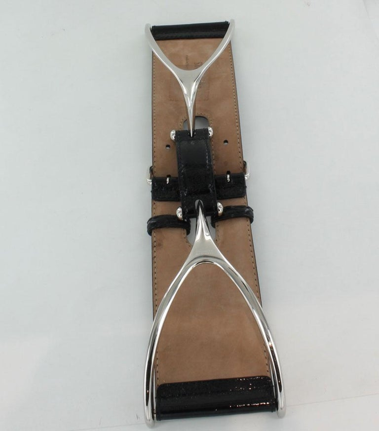 ALEXANDER MCQUEEN Large Belt in Black patent Leather Size 75 For Sale 1