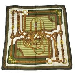 HERMES 'Coaching' Scarf in Khaki Silk