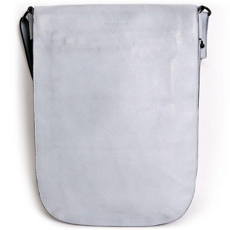 Gray SONIA RYKIEL Satchel in Tintes Blue Sky Grained Calfskin Leather For Sale