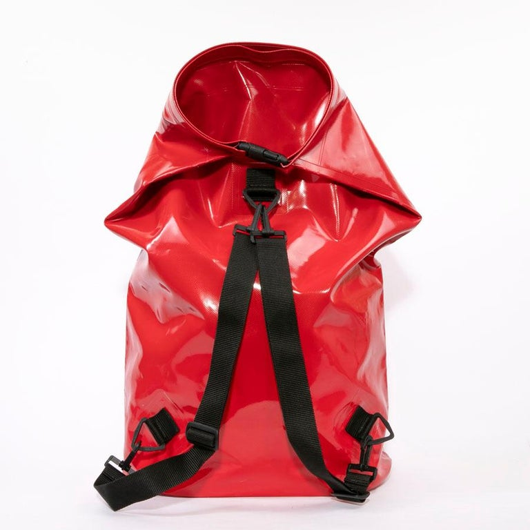 CHANEL Waterproof Red Laminated Canvas Backpack For Sale 1