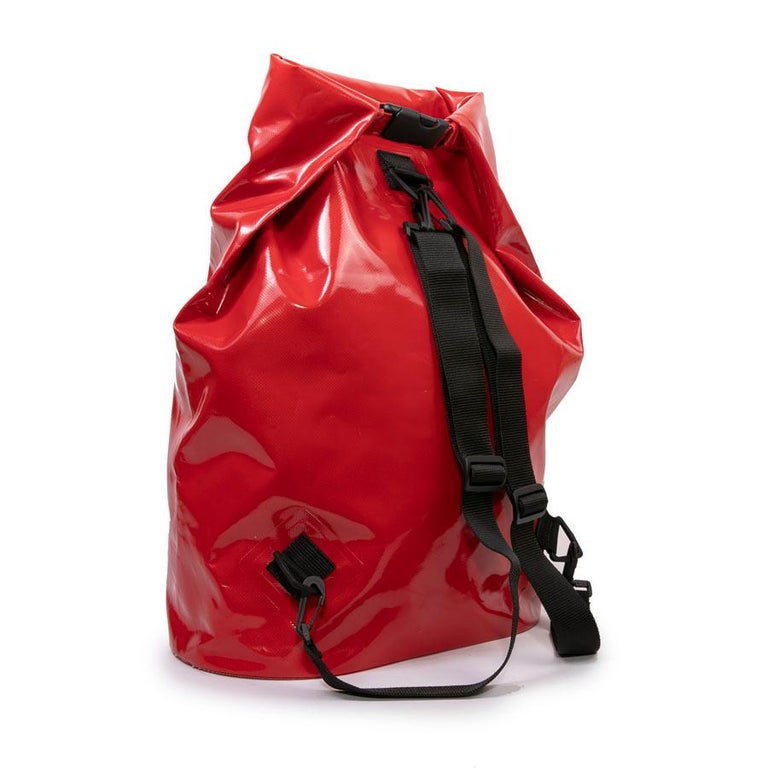 CHANEL Waterproof Red Laminated Canvas Backpack For Sale 3