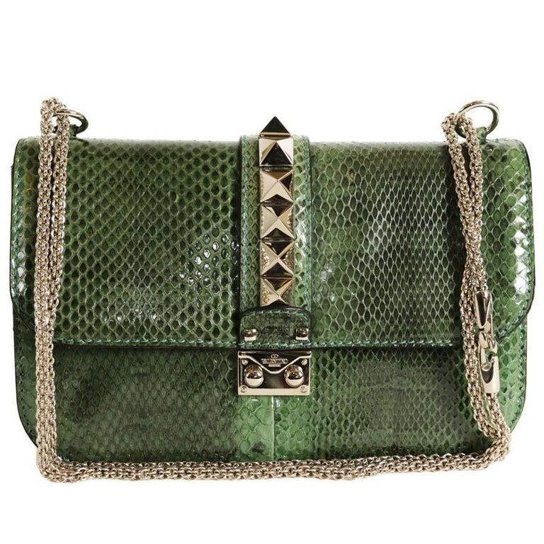 VALENTINO GARAVANI 'Vavavoom' Bag in Green Python Leather For Sale
