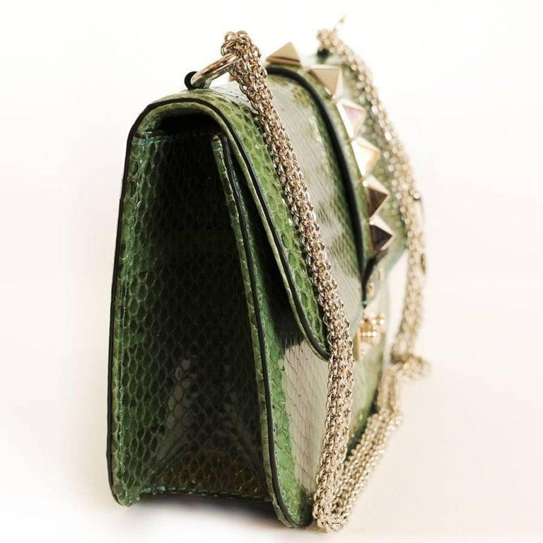 Black VALENTINO GARAVANI 'Vavavoom' Bag in Green Python Leather For Sale