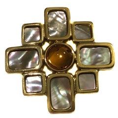 CELINE Cross Brooch in Gilt metal and Pearls