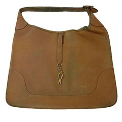 HERMES Vintage Bag Trim Model in Grained Gold Leather