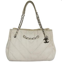 Chanel Ecru Canvas and Leather Tote Bag