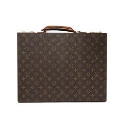 LOUIS VUITTON Vintage Attaché Case in Brown Monogram Canvas And Natural Leather