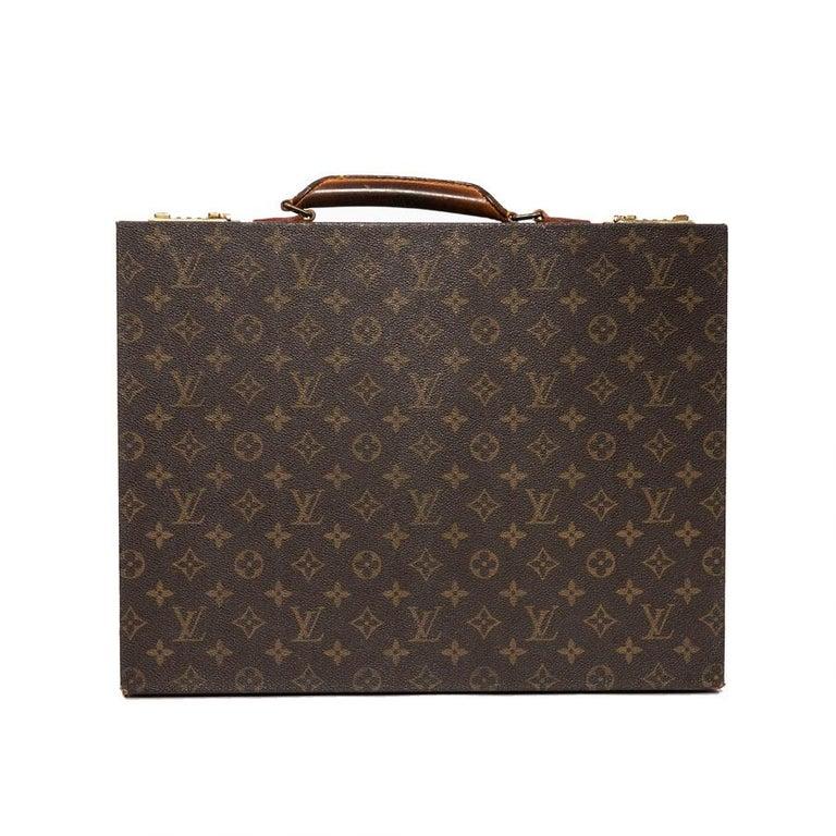45b8110ec65e LOUIS VUITTON Vintage Attaché Case in Brown Monogram Canvas And Natural  Leather For Sale