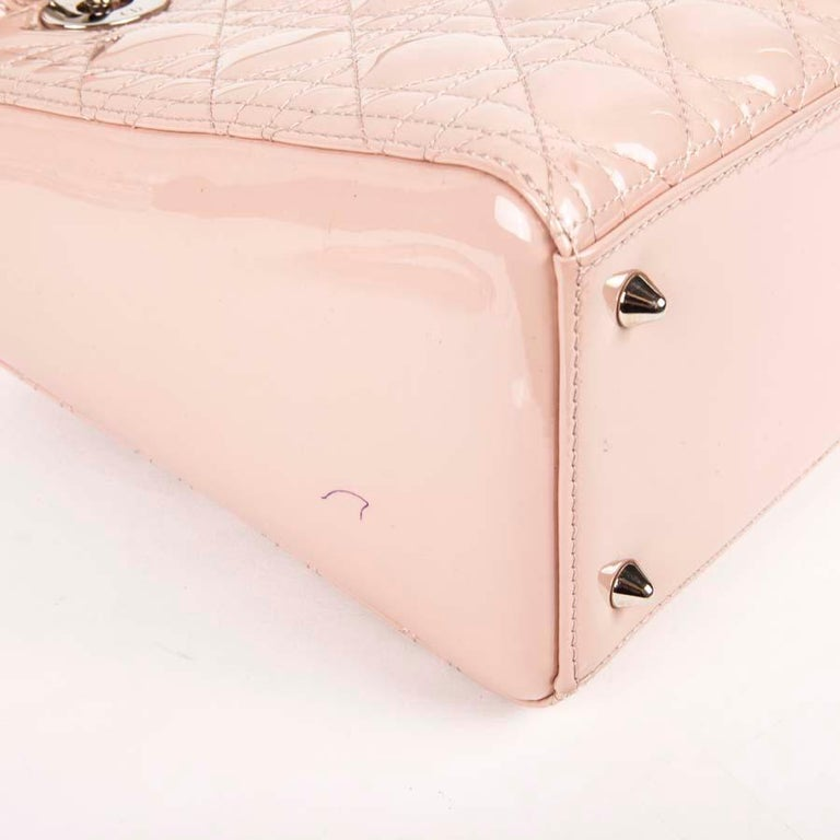 DIOR Lady Dior Bag in Pink Varnished Quilted Leather For Sale 5