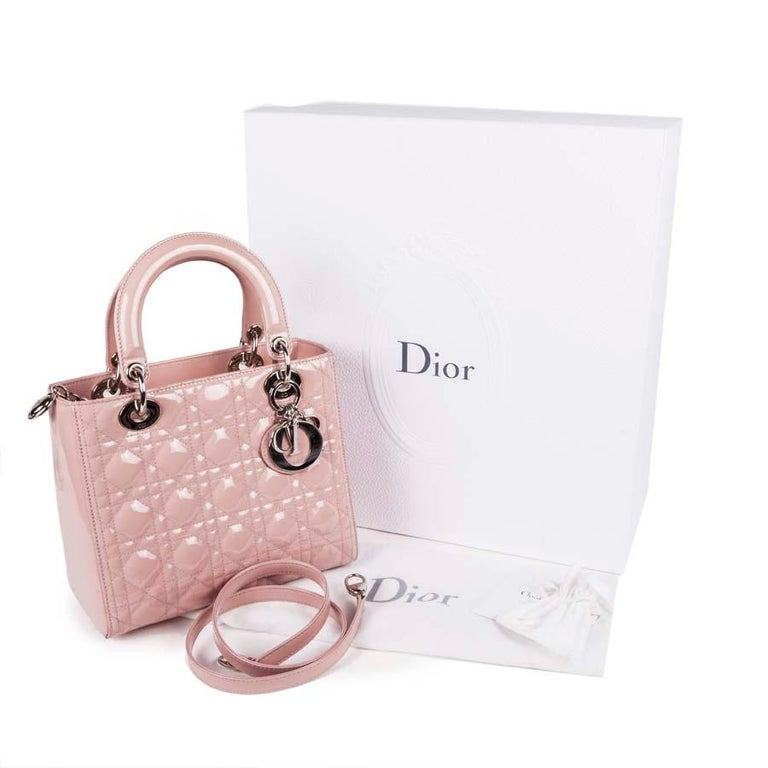 DIOR Lady Dior Bag in Pink Varnished Quilted Leather For Sale 9