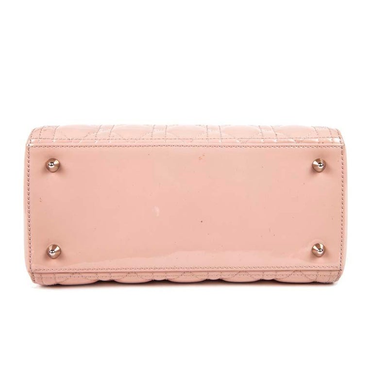DIOR Lady Dior Bag in Pink Varnished Quilted Leather For Sale 7